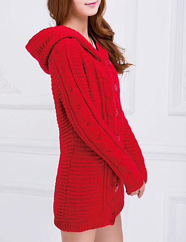 Women's Long Sleeves Long Cloak / Capes - Solid Colored Hooded