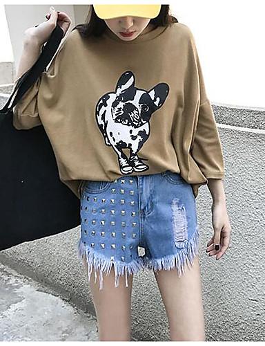 Dame Enkel Mikroelastisk Jeans Shorts Bukser,Rett Mellomhøyt liv Ensfarget