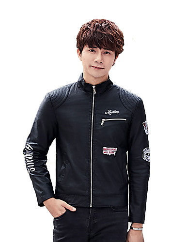 Men's Daily Simple Casual Winter Fall Leather Jacket,Solid Round Neck Long Sleeve Regular Cotton Polyester