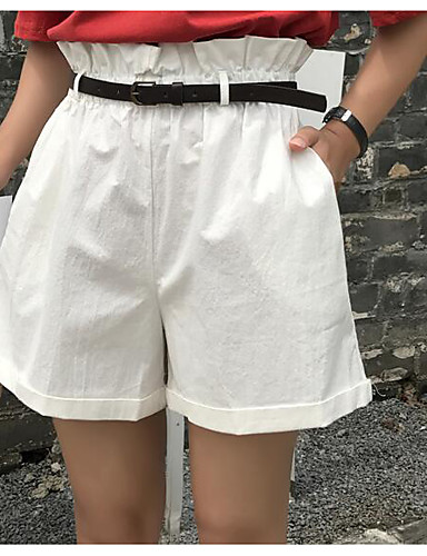 Women's Casual Cotton Wide Leg / Shorts Pants - Solid Colored High Waist / Summer / Going out