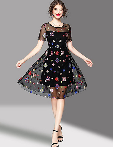 Women's Going out Cute A Line Dress,Embroidered Round Neck Knee-length Short Sleeves Polyester Summer Mid Rise Micro-elastic Medium