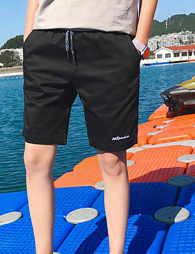 Men's Mid Rise Micro-elastic Shorts Pants,Simple Straight Solid