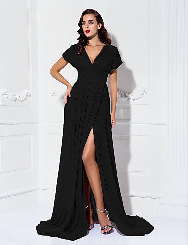 Sheath / Column V Neck Sweep / Brush Train Chiffon Formal Evening Dress with Ruched / Pleats by TS Couture®