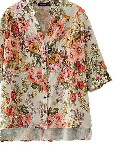Women's Going out Street chic Shirt - Floral V Neck / Fall