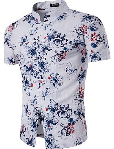 Men's Casual/Daily Work Simple Shirt,Solid Floral Stand Short Sleeves Cotton Others