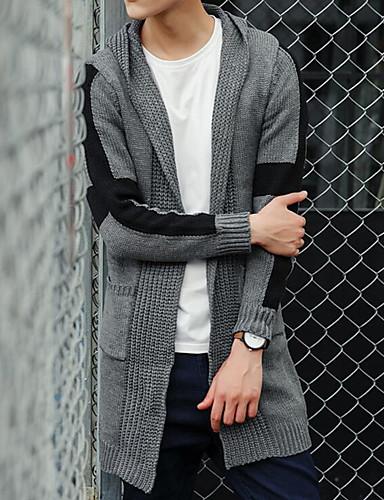 Men's Casual Long Cardigan,Solid Hooded Long Sleeves Cotton Winter Medium Micro-elastic