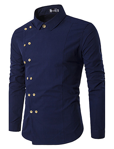 Men's Party Cotton Shirt - Solid Colored / Long Sleeve
