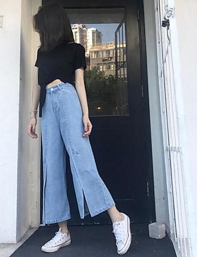 Women's Chinoiserie Denim Culotte / Wide Leg Pants - Solid Colored Pure Color / Denim High Waist / Summer