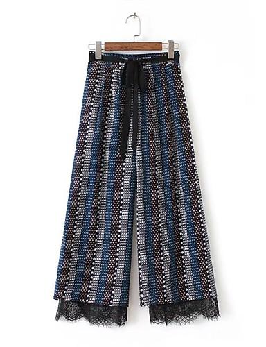 Women's High Rise Micro-elastic Wide Leg Pants,Street chic Print Acrylic Summer