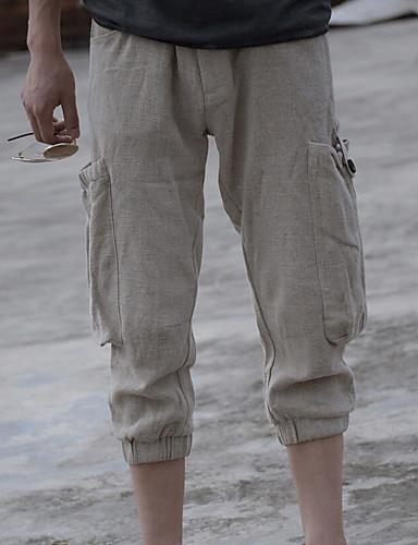 Herre Aktiv Uelastisk Skinny Bukser,Harem Mellomhøyt liv Ensfarget