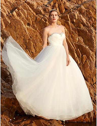 Princesa Sem Alças Longo Tule Vestidos de noiva personalizados com Miçangas Detalhes em Cristal Drapeado Lateral Cruzado de LAN TING