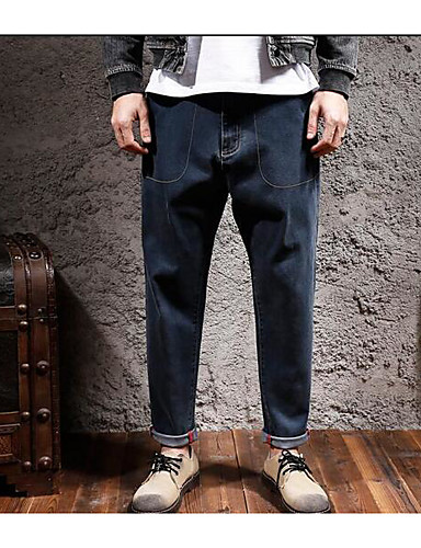 Men's Mid Rise Micro-elastic Straight Pants,Simple Relaxed Solid