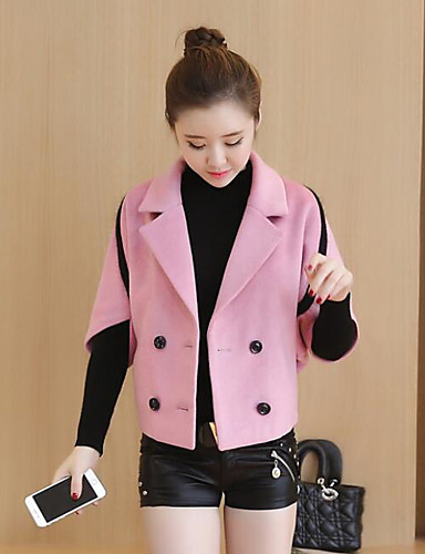 Women's Daily Casual Winter Jacket,Solid V Neck 1/2 Length Sleeve Regular Wool
