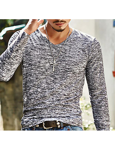 Men's Basic Slim T-shirt - Solid Colored Print V Neck / Long Sleeve