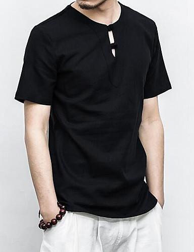 Bomull Lin Kortermet,Rund hals T-skjorte Ensfarget Enkel Fritid/hverdag Herre