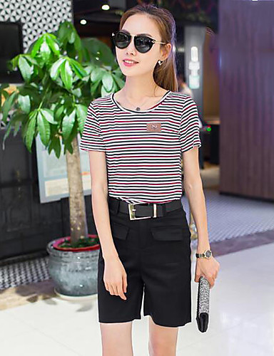 Women's Casual T-shirt - Solid Colored / Striped Pant / Summer