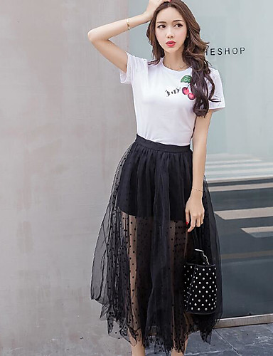 Women's Daily Ball Gown Slip Summer T-shirt Skirt Suits,Quotes & Sayings Round Neck Short Sleeve Lace Micro-elastic