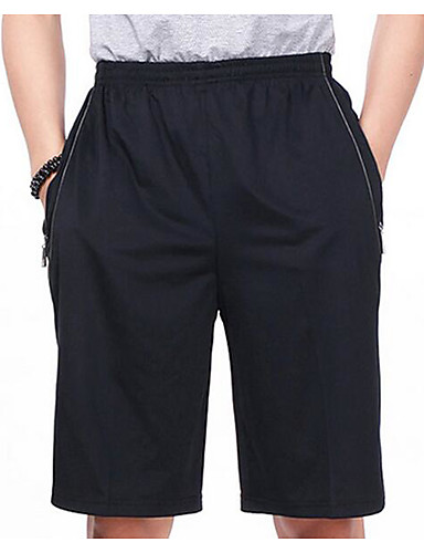 Men's Mid Rise Micro-elastic Loose Pants,Simple Straight Solid