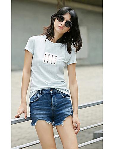 Naisten Raidoitettu / Painettu Yksinkertainen T-paita