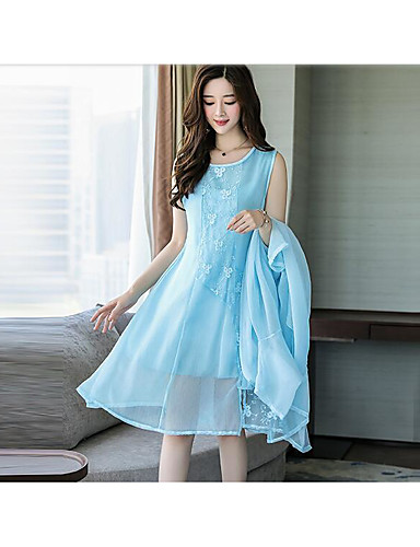 Women's Daily Casual Artistic Spring Summer Blouse Dress Suits,Solid Round Neck Half Sleeves Retro Inelastic