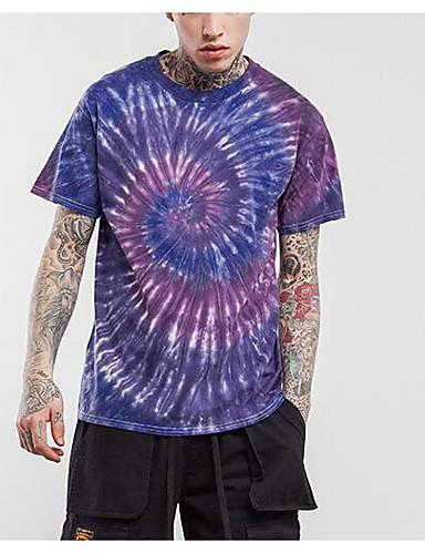 Bomull Lin Medium Halvlange ermer,Rund hals T-skjorte Ensfarget Geometrisk Trykt mønster Sommer Høst Enkel Gatemote Aktiv Sport Ut på