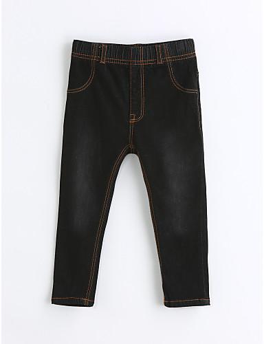 Gutt Jeans Ensfarget Bomull Vår Høst Svart