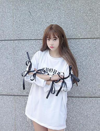 Women's Daily Sweatshirt Letter Round Neck Inelastic Cotton ¾ Sleeve Summer
