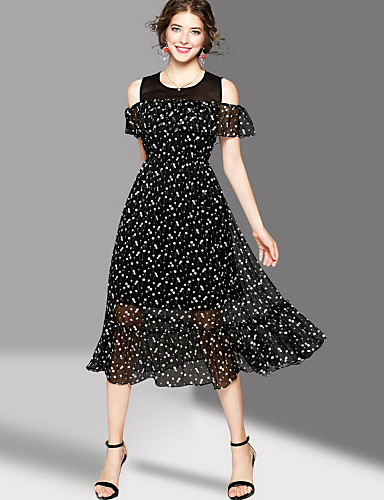 Women's Going out Cute Swing Dress,Print Round Neck Midi Short Sleeves Polyester Summer Mid Rise Micro-elastic Medium