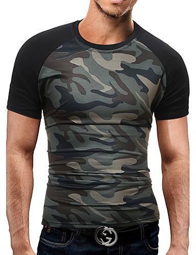 Homens Camiseta - Festa Bandagem Trabalho Activo Patchwork, camuflagem Algodão Decote Redondo