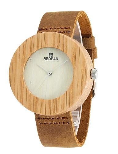 Homens Relógio Madeira Relógio de Moda Japanês Quartzo de madeira Couro Legitimo Banda Amuleto Elegant Marrom