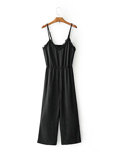 Women's Going out Daily Holiday Sexy Street chic Striped Strap Jumpsuits