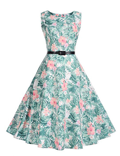 Women's Party / Going out / Beach Vintage / Street chic Sheath / Swing Dress - Floral Pleated / Print