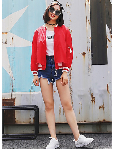Women's Daily Contemporary Spring/Fall Jacket,Solid Round Neck Long Sleeve Short Polyester