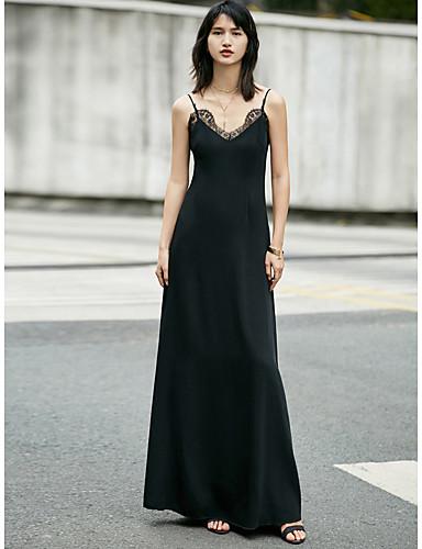 Mulheres Bainha / Vestidinho Preto Vestido Sólido Com Alças Longo / Altura dos Joelhos