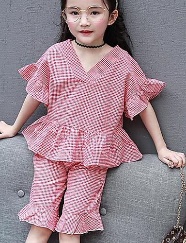 Girls' Plaid Sets,Cotton Summer Clothing Set