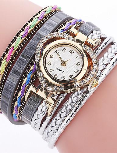 Xu™ Mulheres Simulado Diamante Relógio Único Criativo relógio Bracele Relógio Relógio Casual Chinês Quartzo Venda imperdível PU Banda