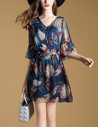 Women's Flare Sleeve Loose Chiffon Dress Pleated Print High Rise V Neck
