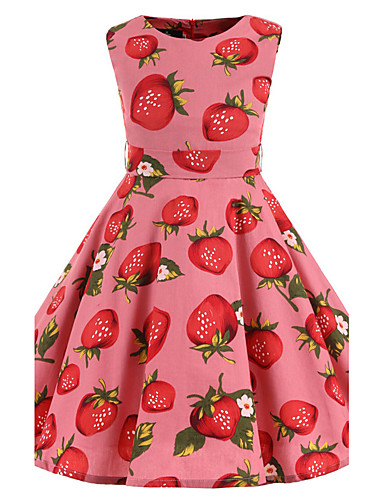 Girls' Floral Floral Sleeveless Cotton Dress