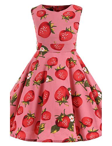 Menina de Vestido Floral Todas as Estações Algodão Sem Manga Floral Rosa
