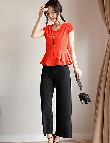 Women's Daily Casual Contemporary Summer T-shirt Pant Suits,Solid V Neck Short Sleeve Inelastic