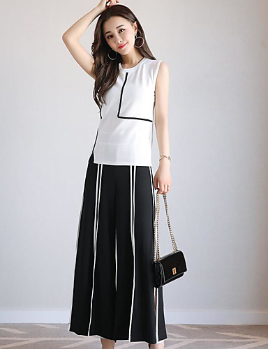Women's Daily Casual Contemporary Summer T-shirt Pant Suits,Striped Round Neck Sleeveless Polyster