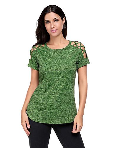 Naisten Polyesteri Spandex T-paita, Yhtenäinen