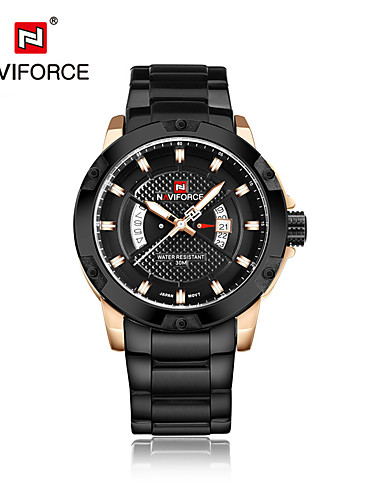 NAVIFORCE Men's Quartz Wrist Watch Japanese Calendar / date / day Water Resistant / Water Proof Stainless Steel Band Casual Dress Watch