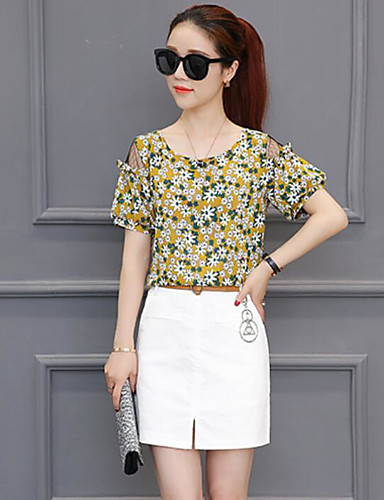Women's Daily Casual Summer T-shirt Skirt Suits,Floral Print Round Neck Short Sleeve Cotton