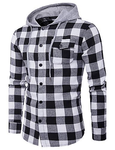 Men's Street chic Shirt - Striped, Print Hooded