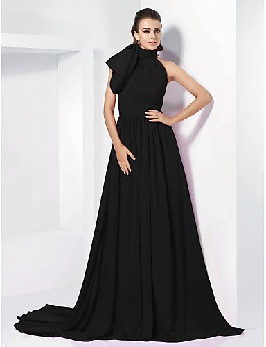 81bb9e9dd44b8 A-الخط رقبة عالية ذيل محكمة شيفون خمر مستوحاة حفلة رسمية فستان مع شريطة    طيات بواسطة TS Couture®