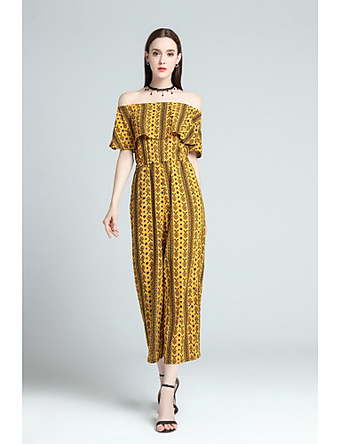Women's Going out Cute Print Boat Neck Jumpsuits,Bootcut Half Sleeves Summer Polyester