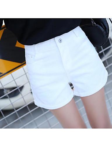 Women's Denim Wide Leg Shorts Pants - Solid Colored High Waist