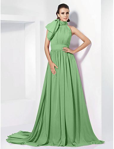45c492111c Krój A Wysoki Tren w stylu sądowym Szyfon Retro Kolacja oficjalna Sukienka  z Kokardki   Plisy przez TS Couture®