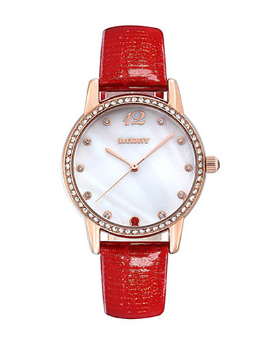 Women's Fashion Watch Quartz Leather Band White Red Purple